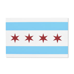 Chicago Flag Screen Printed Postcard