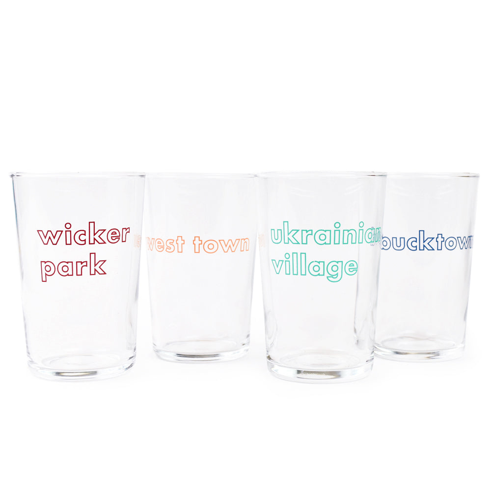 Chicago West Town Area Neighborhoods Petite 7 oz Juice Glass Set (Set of 4 Glasses)