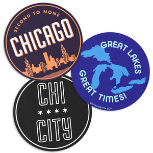 "Second to None Chicago Skyline 3""Circle Sticker"