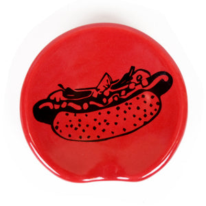 Handle-less Chicago Dog Red Spoonrest