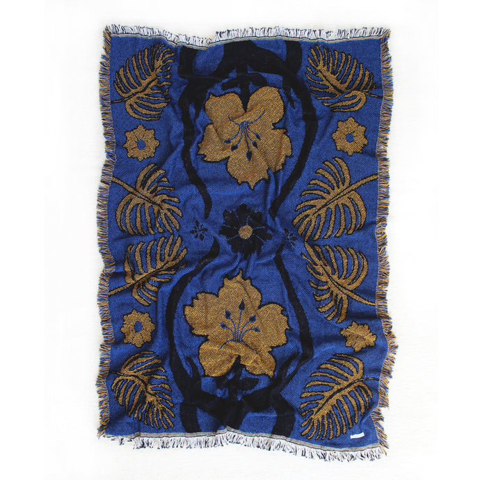 Tropical Floral Dark Blue & Gold 44