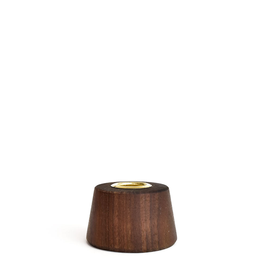 Round Tapered Walnut Candlestick