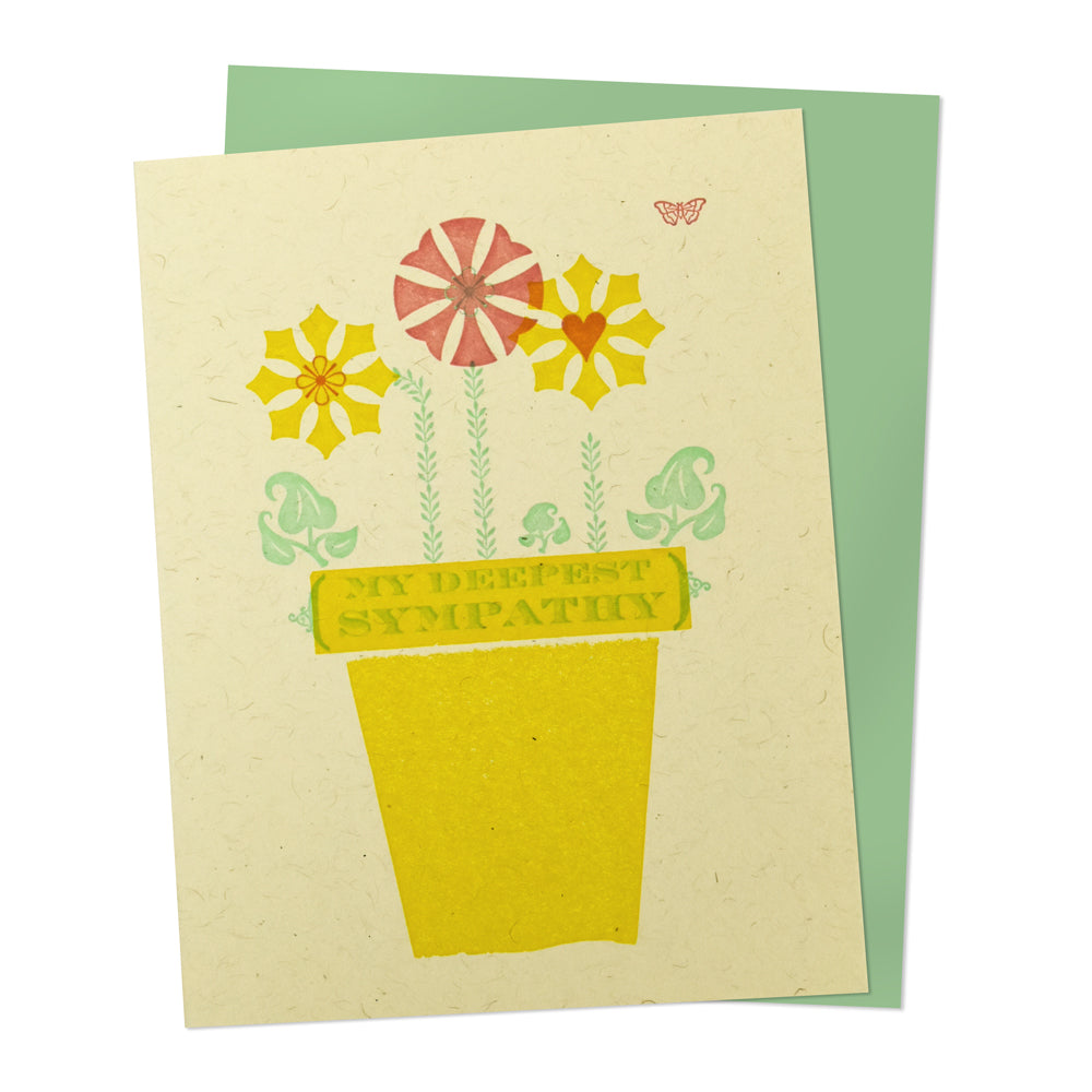 Flower Sympathy Letterpress Greeting Card