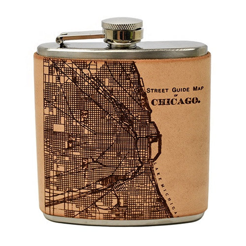 Chicago Map Leather Flask