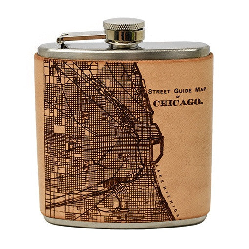 Chicago Street Map Leather Wrapped Flask