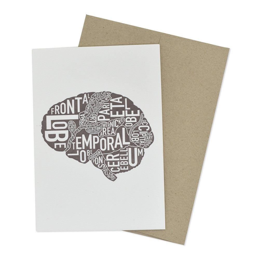 Typographic Brain Letterpress Card