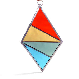 Diamond Stained Glass Ornament or Window Hanging