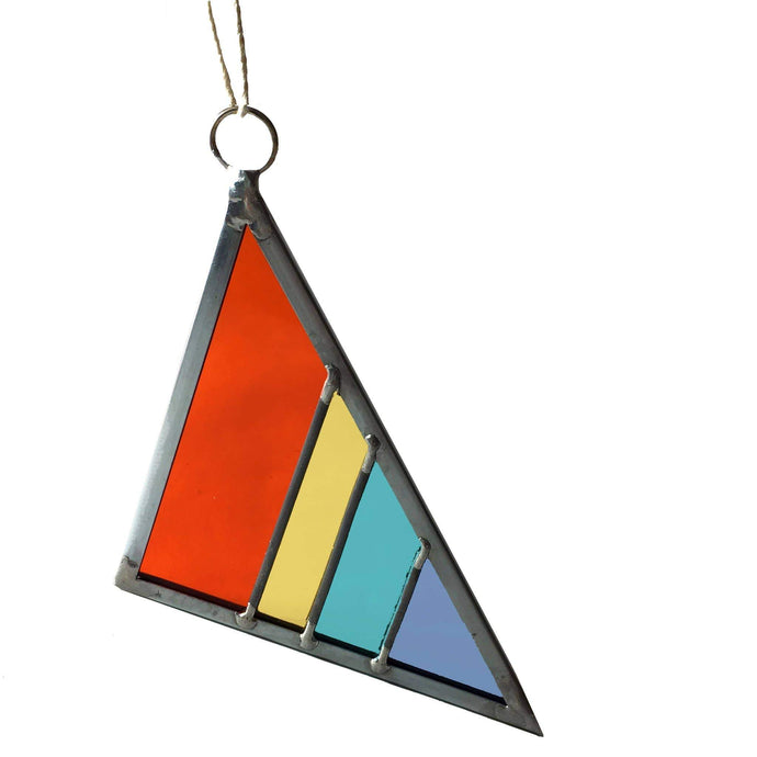 Stained Glass Triangle Ornament or Window Hanging