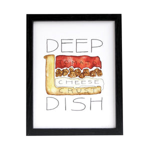 "Chicago Deep Dish Pizza Diagram 8.5"" x 11"" Print"