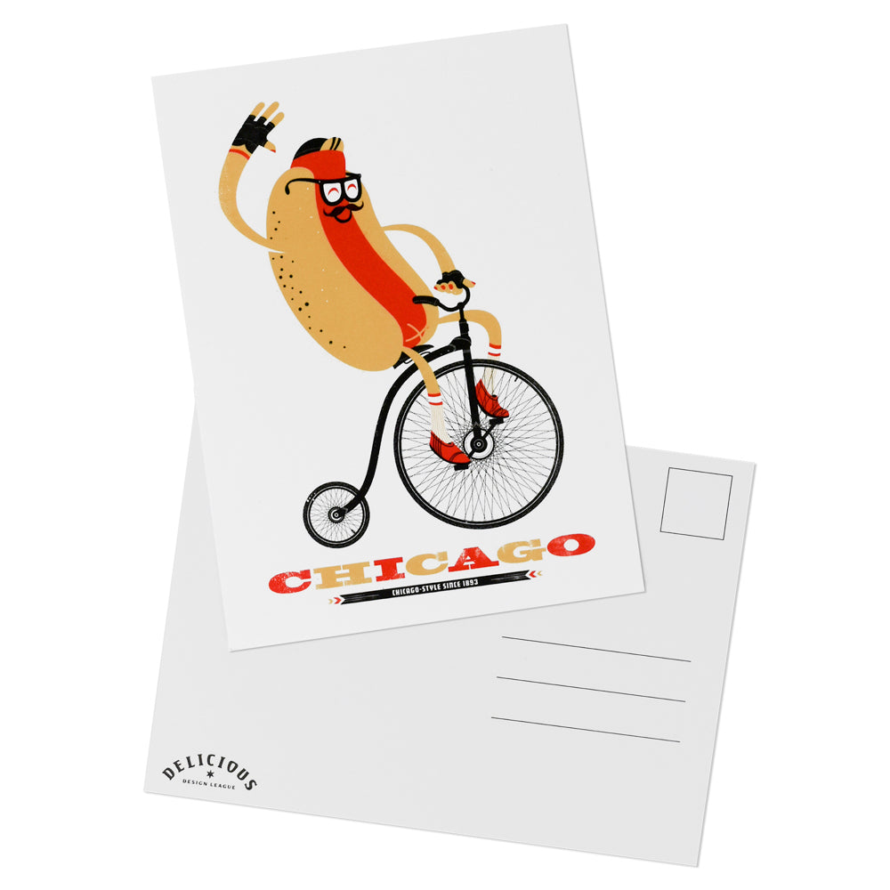 Chicago Style 1893 Hot Dog on Bike Postcard