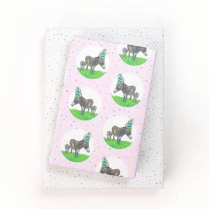 "Donkey Party Hat/Confetti Gift Wrap (Set of 3 22"" x 34"" sheets)"