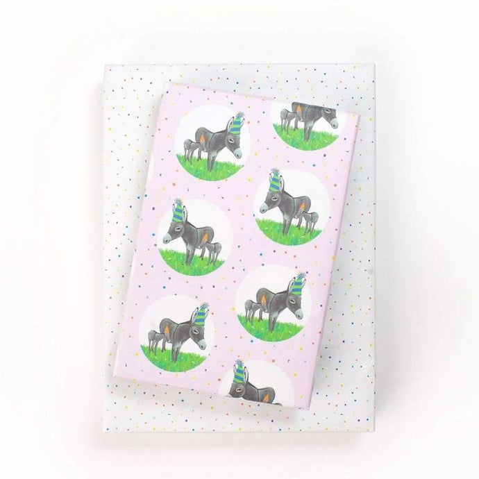 Donkey Party Hat/Confetti Gift Wrap (Set of 3 22
