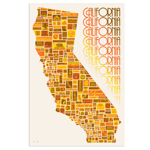 "California Compiled 24"" x 36"" Screen Print"