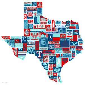 "Totally Texas 23"" x 23"" Screen Print"