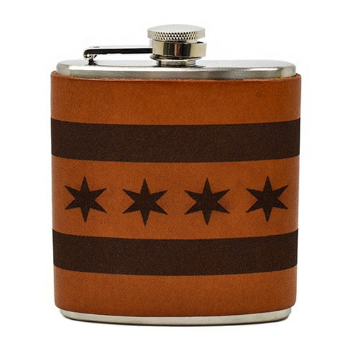 Chicago Flag Leather Flask