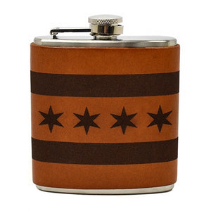 Chicago Flag Leather Wrapped Flask
