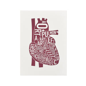 "Typographic Heart Mini Letterpress Print, 4"" x 5.75"""