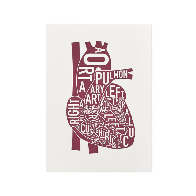 Typographic Heart Mini Letterpress Print, 4