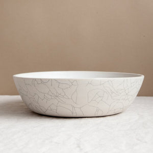 "Handmade Ceramic Crackle Glaze 9.5"" Serving Bowl"