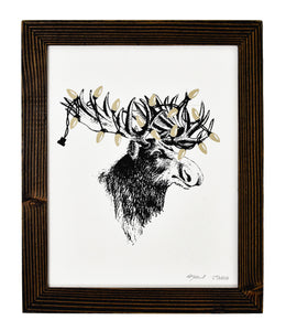 "Xmas Moose 8"" x 10"" Holiday Screen Print"