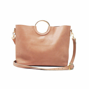 Fozi Circle Handled Leather Handbag