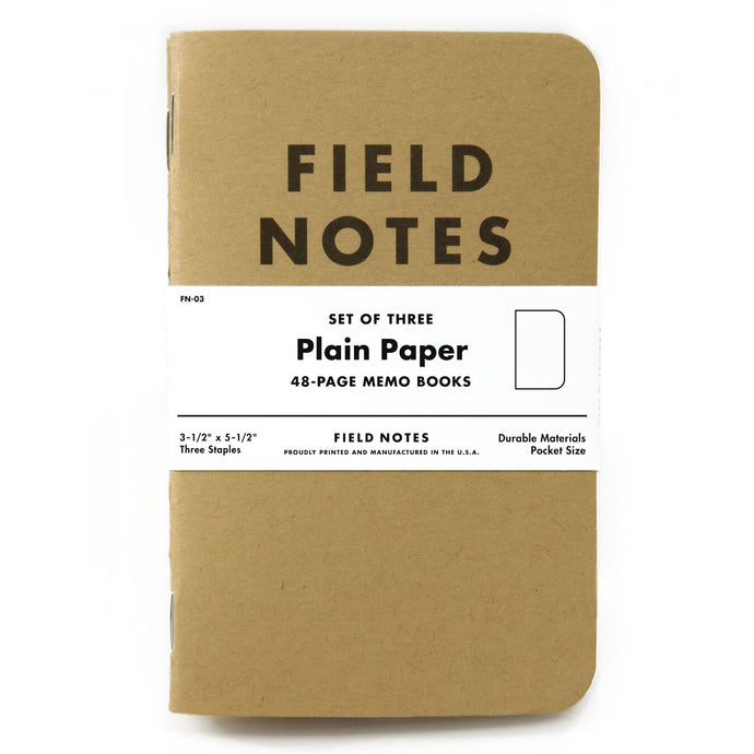 Field Notes Plain Paper Memo Notebook (Set of 3)