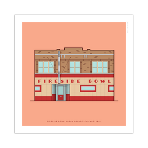 "Fireside Bowl Chicago Storefront 8"" x 8"" Archival Print"