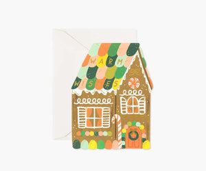 Gingerbread House Die-Cut Holiday Flat Card