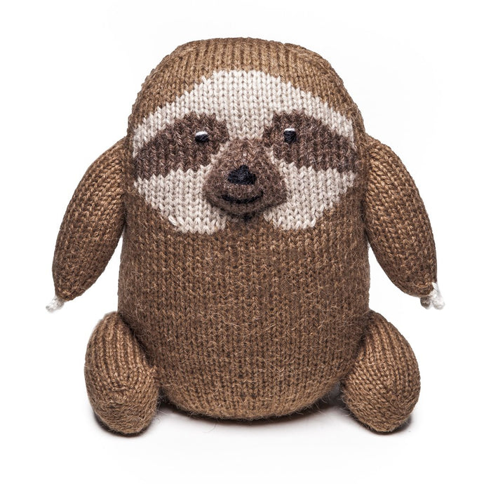 Fair Trade Knit Alpaca Stuffed Sloth Toy