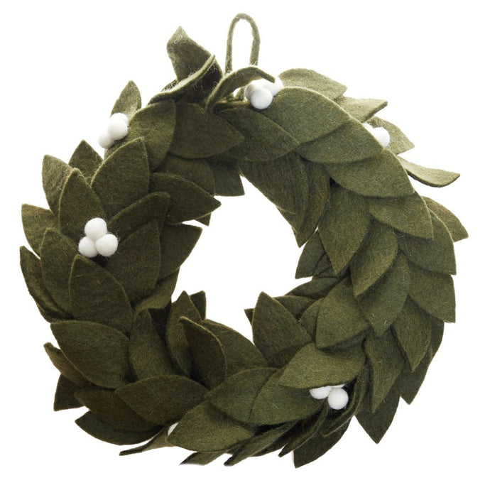 Fair Trade Felt Mistletoe Holiday Wreath