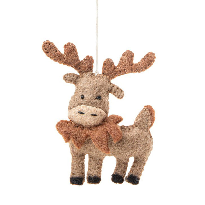 Fair Trade Arctic Moose Animal Holiday Ornament