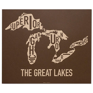 great lakes typographic map screen print in brown by ork posters