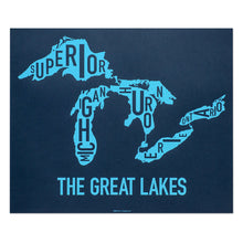 great lakes type map in navy by ork posters