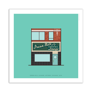 "Green Mill Chicago Storefront 8"" x 8"" Archival Print"