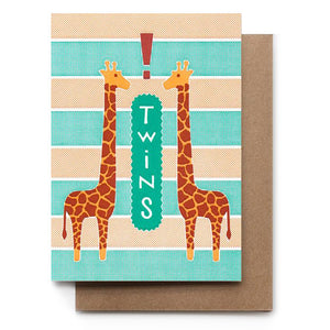 Twins Giraffe Baby Card