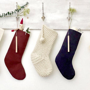 Hand-Crocheted Ivory Holiday Stocking