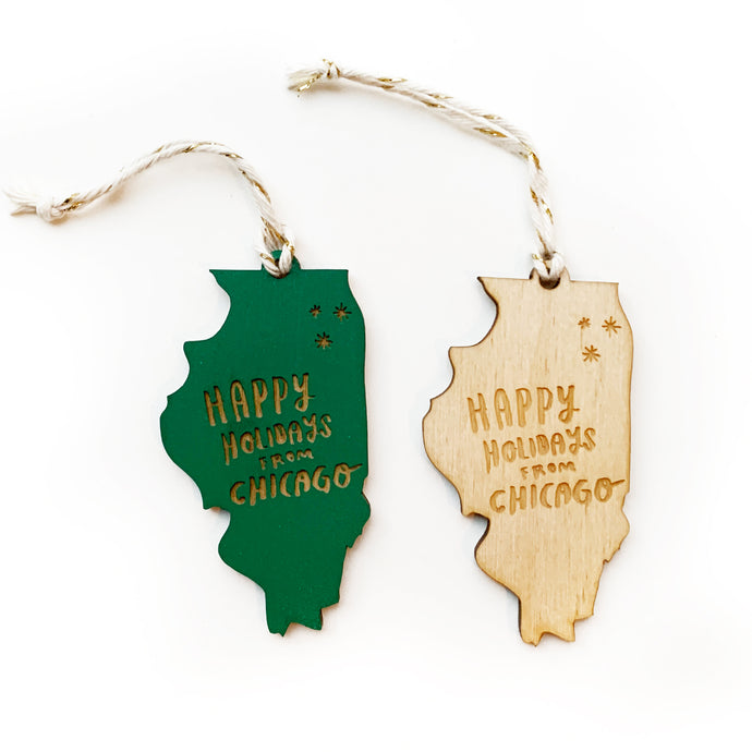 Happy Holidays from Chicago Illinois Wood Ornament