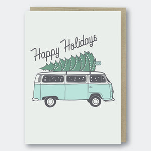 Happy Holidays VW Van with Tree Holiday Card