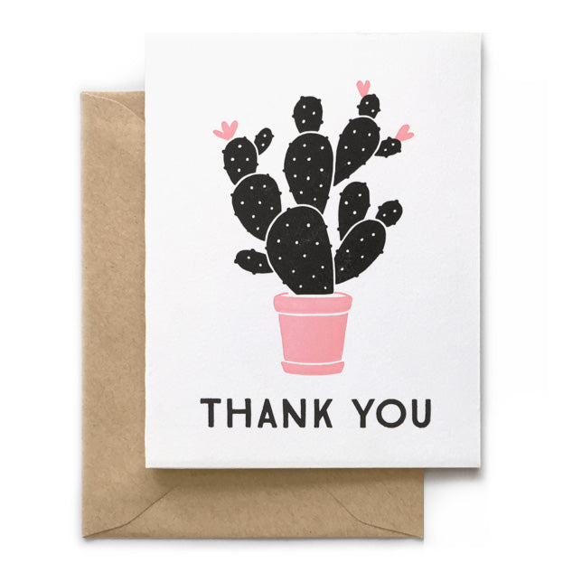 Thank You Cactus Letterpress Card