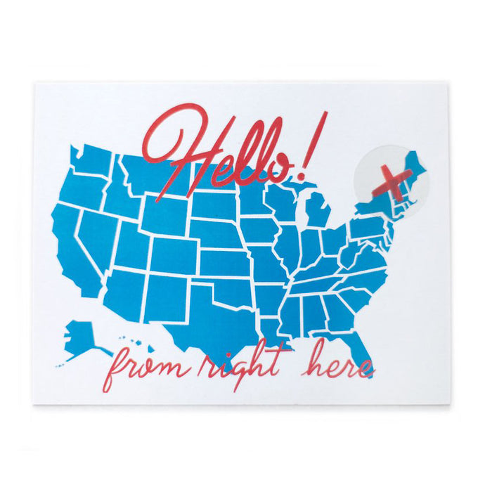 Hello From Here USA Map Postcard with Sticker