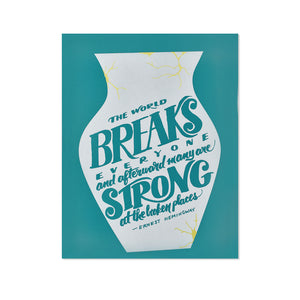 "Hemingway Broken Places Typographic 8.5"" x 11"" Limited Edition Screen Print"