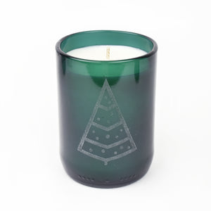 Holiday Tree Recycled Wine Glass Soy Wax Candle
