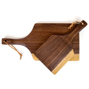 Walnut Solid Wood Handled Paddle Cutting or Serving Board
