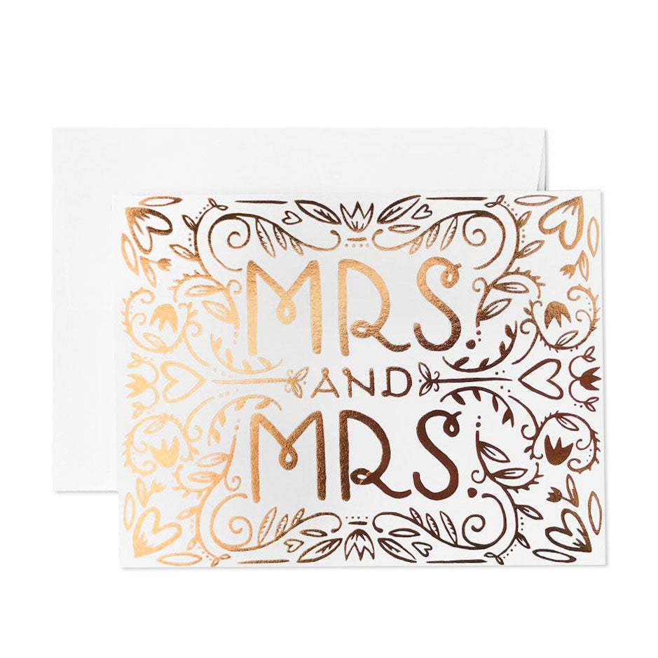 Mrs. and Mrs. Foil Wedding Card