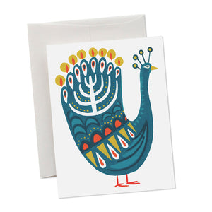 Hanukkah Peacock Holiday Card