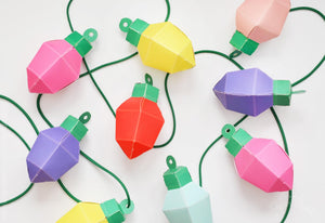 Make Your Own Christmas Lights Garland Paper Craft Kit