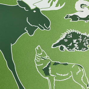 "North American Forest Animals 18"" x 24"" Screenprint"