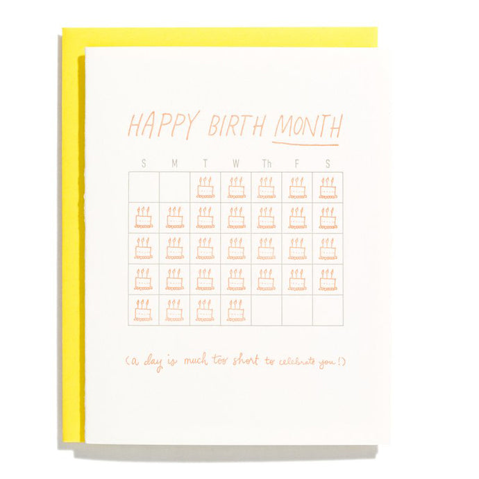 Birth Month Letterpress Birthday Card