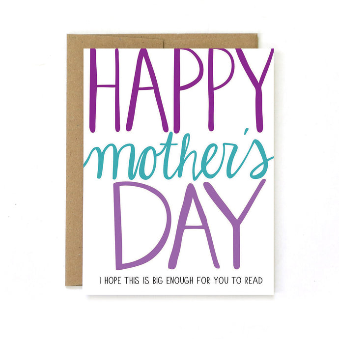 Mother's Day Can't Read Card