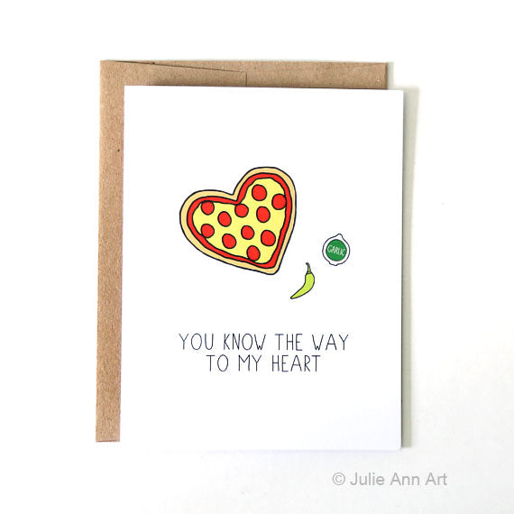 Heart Shaped Pizza Card